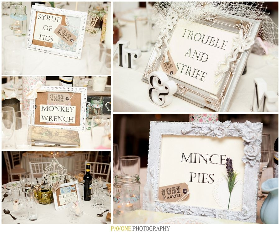 wedding ideas table names cockney rhyming slang table names unique shabby chic 27730