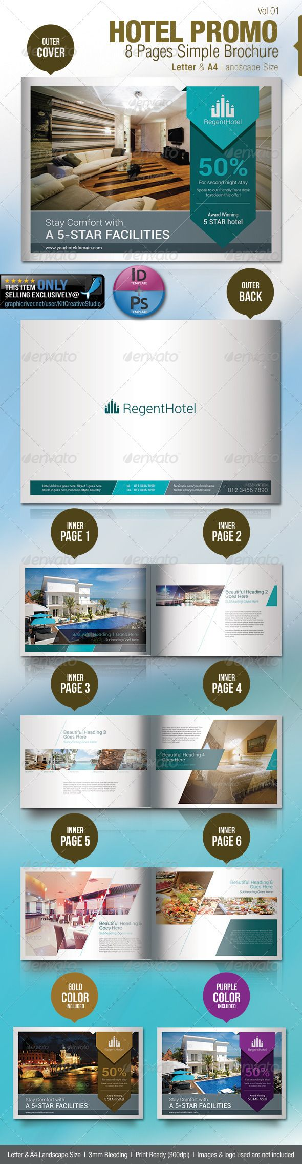 hotel promo 8 pages simple brochure brochures print templates