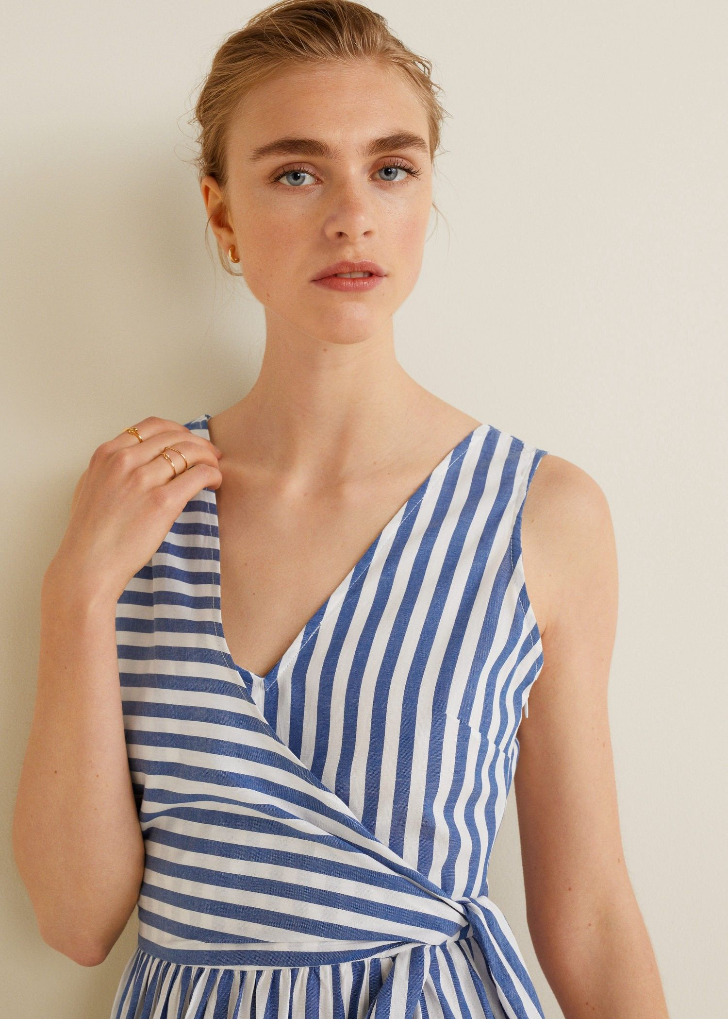 ff9acd21c32a Mango Striped Bow Dress - 2 | Products | Dresses, Dress with bow ...