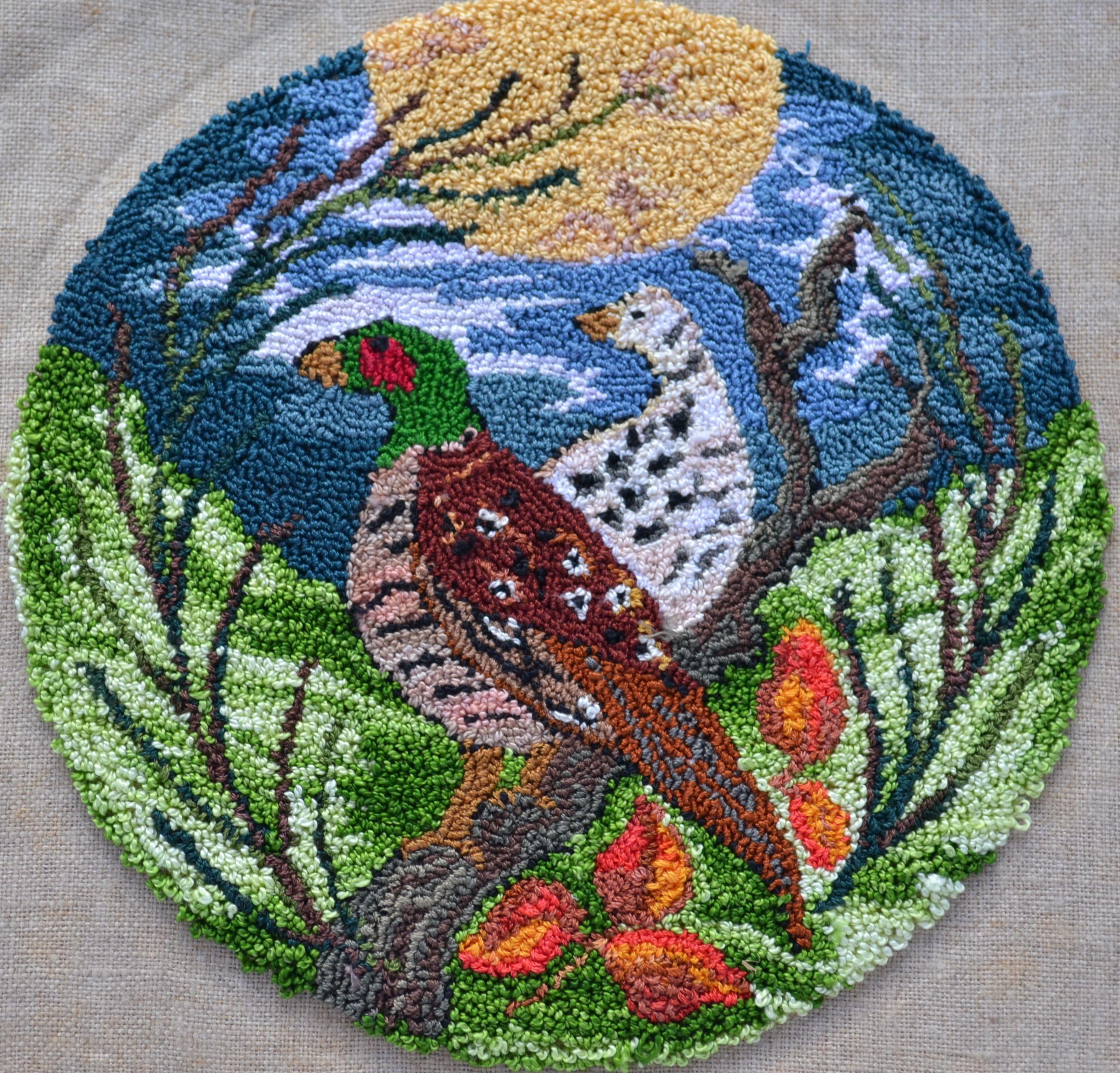 """Highland pheasants"" Original needlepunch worked for the 2015 Robert Burns festival, Camperdown Victoria Aus."