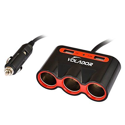 VOLADOR 3-Socket 120W Car Cigarette Lighter, 12V/24V DC Outlet Car Power Adapter, 3.4A Dual USB Ports Car Charger for iPhone Samsung iPad and Other Devices--Black