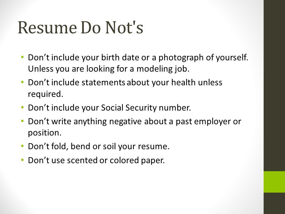 Take Care Of These Donu0027ts In A Resume #resumeTips #JobSeekers - sample resume for job seekers