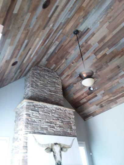 Vintage Timber 3 8 In X 4 Ft Random Width 3 In 5 In 10 59 Sq Ft Brown Grey Barnwood Planks Decorative Wall Panel 2101 The Home Depot In 2020 Wood Plank Ceiling Barn Wood Ceiling Painted Brick Walls