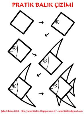 Sekerli Balon Balik Cizimi Easy Animal Drawings Fish Drawings Easy Drawings