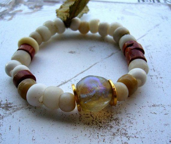 Whisperer++Bracelet+++with++Basha+bead+antique+white+by+lejonklou,+$55.00