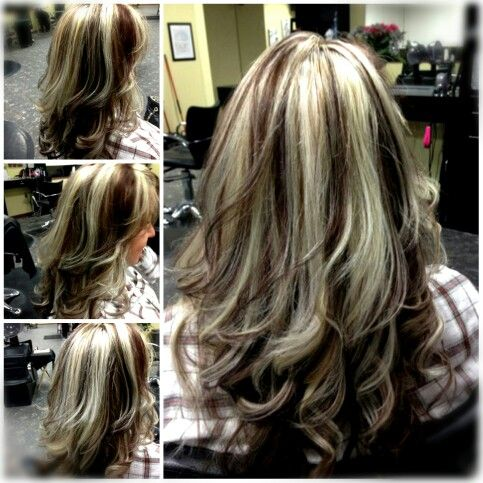 Chunky Platinum Highlights With Red Brown Lowlights Dark Brown