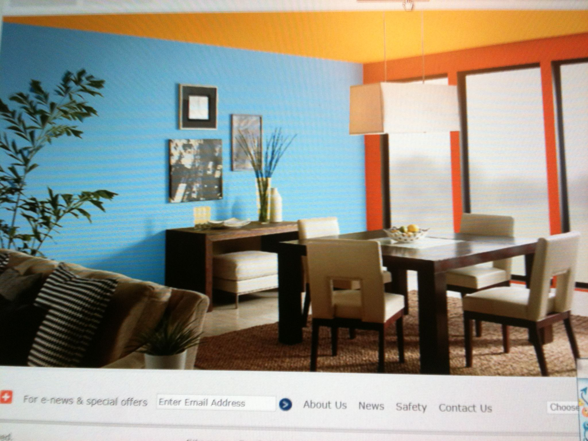 This Split Complementary Room Consists Of Blue Yellow Orange And Red