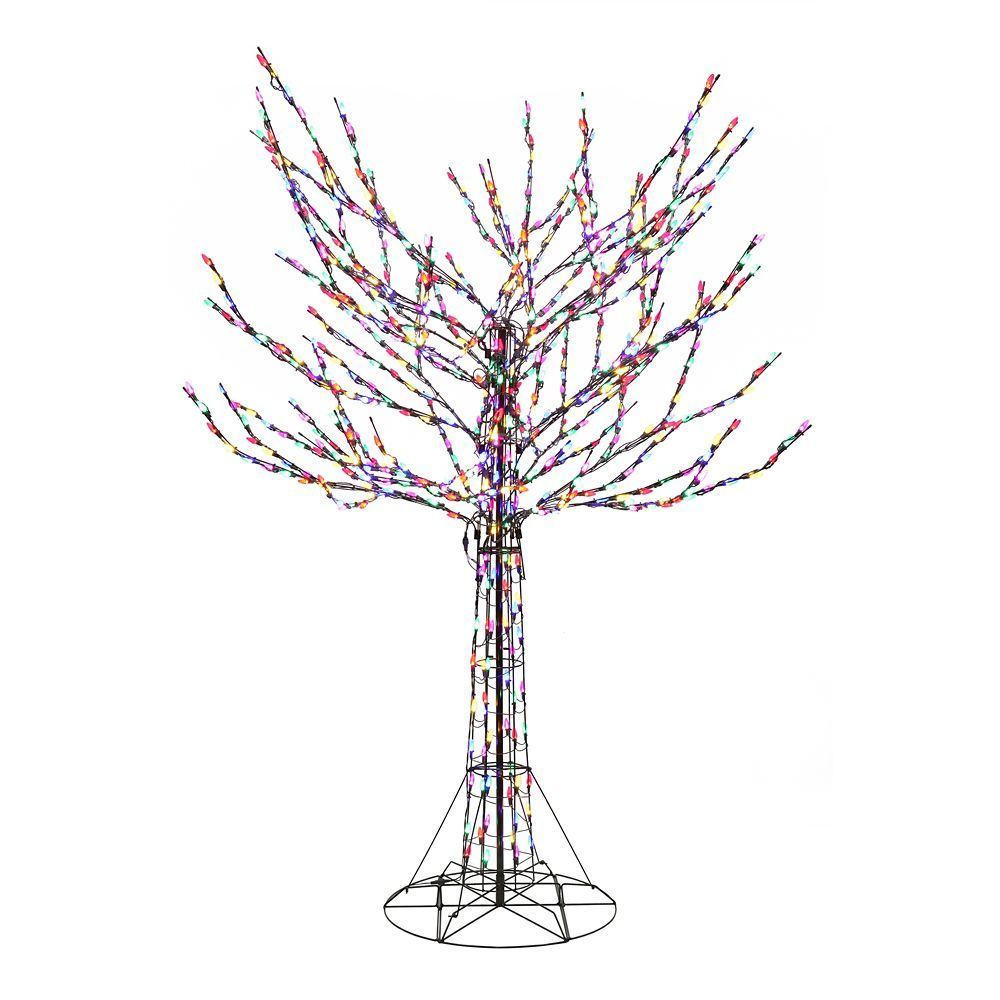 8 Feet Bare Branch Tree With Multi Colored Lights Ornamental Mouldings Tree Branches Light Colors