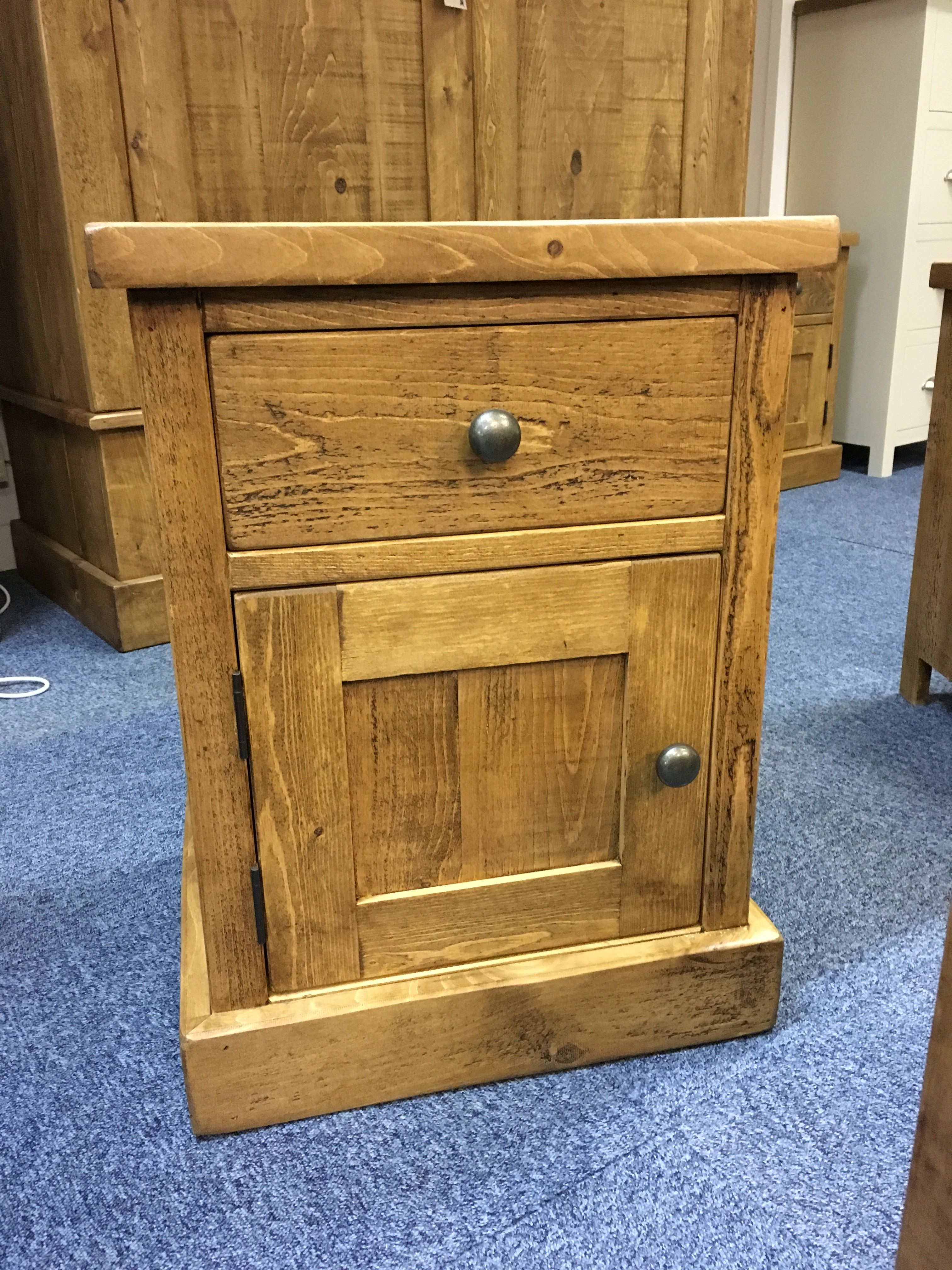 1 Door, 1 Drawer Rustic Plank Bedside. CAN BE MADE ANY SIZE! Cobwebs