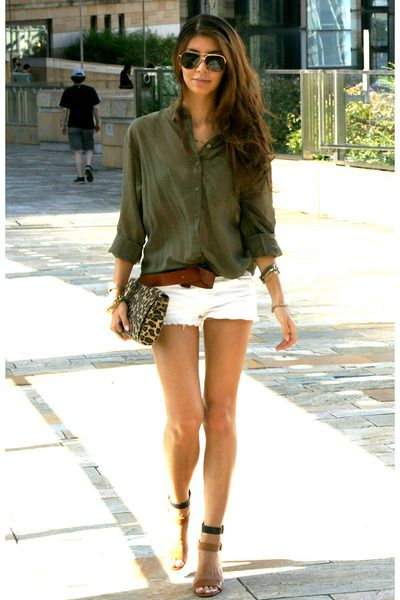 leopard print H&M bag - white denim Bershka shorts - khaki green ...