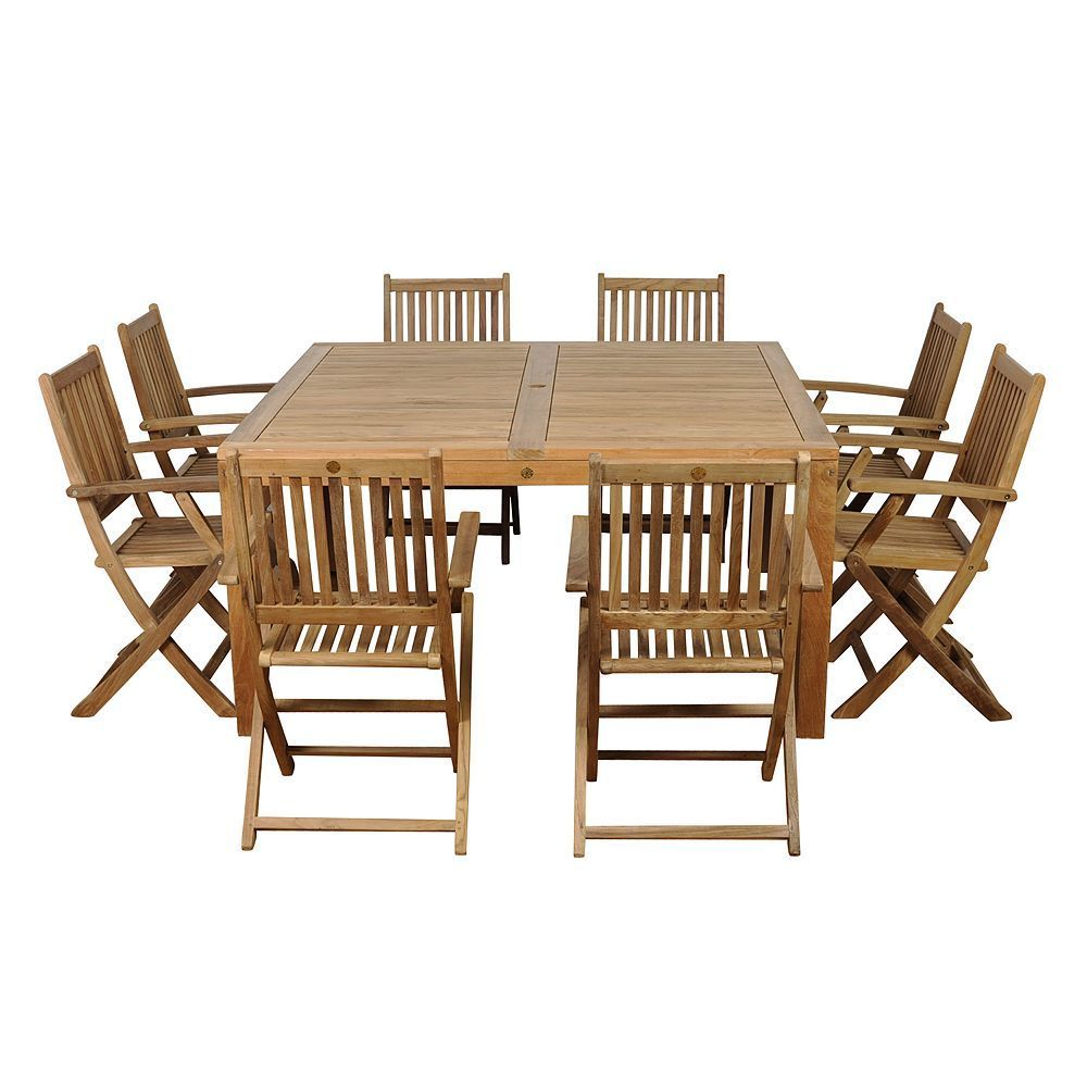 Amazonia Teak Pretoria 9-pc. Square Dining Set - Outdoor, Brown ...