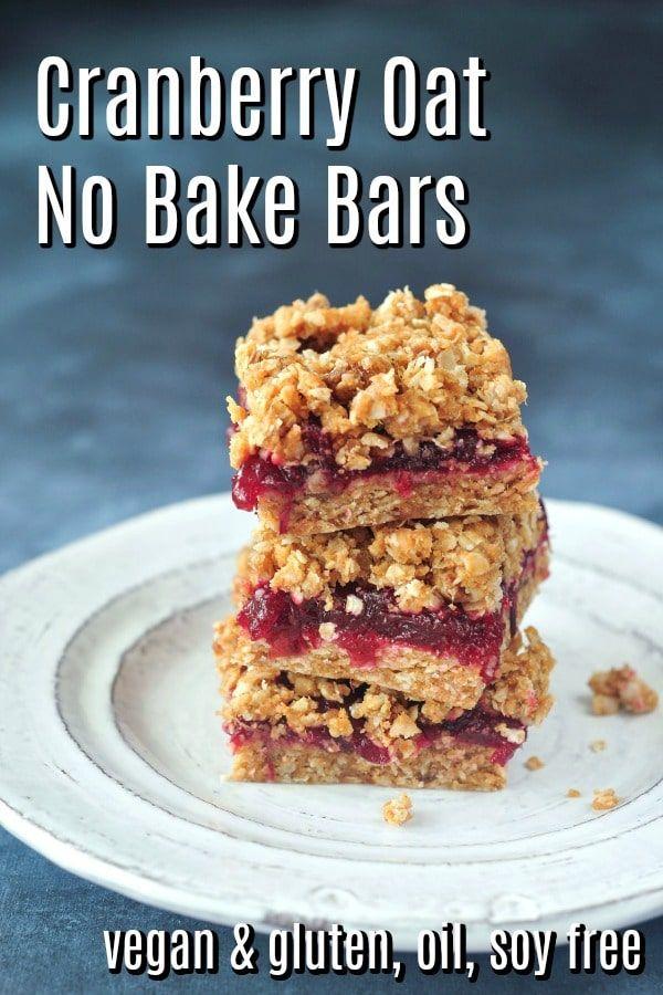 Cranberry Oat No Bake Bars | vegan gluten free | s