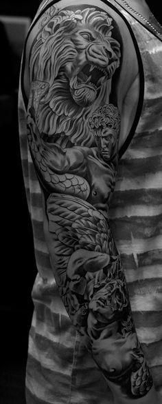 4083fbca495d3 Monarc Studios   Collection   Tattoo's   Lion tattoo, Full sleeve ...