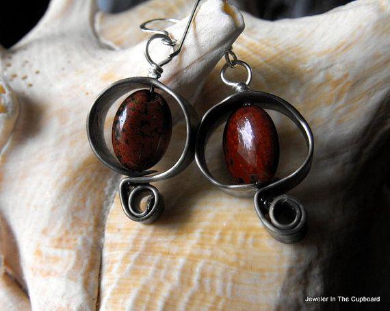 Red Earrings, Funky Earrings, Jasper Earrings, Grey and Red Earrings, Jasper and Pewter Earrings.