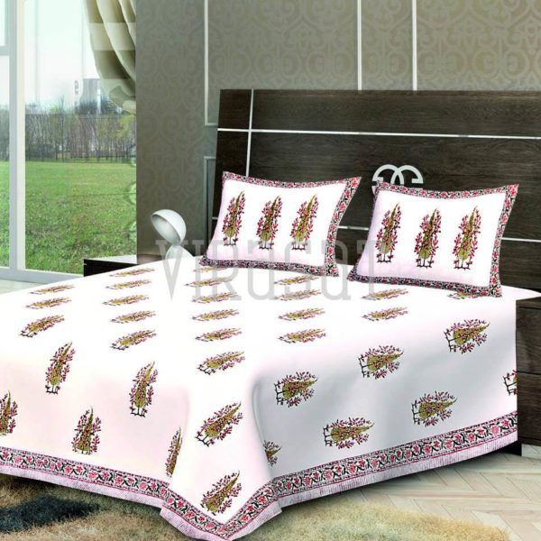 shop white print double bed sheet with two pillow covers at virasat