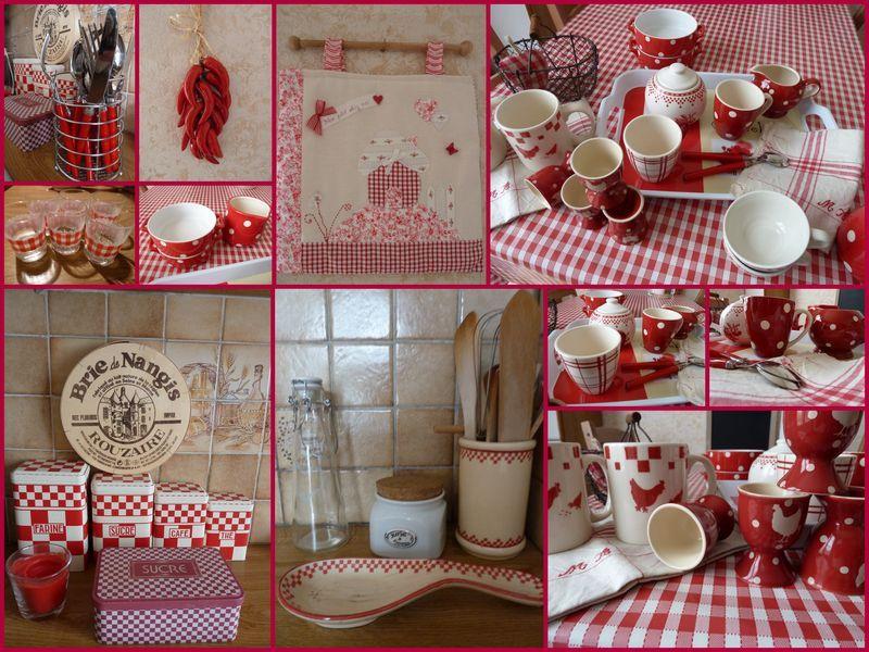 Tablier de cuisine carreaux vichy rouges et blancs et motifs de fruits d - Vaisselle campagne chic ...