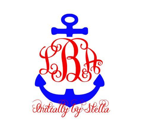 Monogram Anchor Decal, Sticker for Yeti Cup, Car or Any Smooth Surface Application by InitiallybyStella on Etsy https://www.etsy.com/listing/256383749/monogram-anchor-decal-sticker-for-yeti