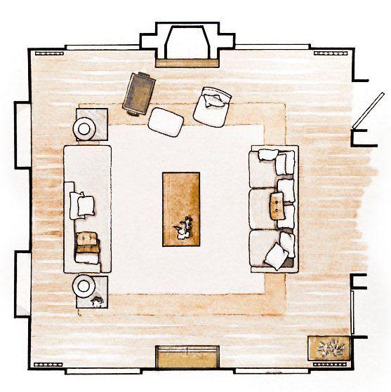 Plano en color planta cuadrada cuadrado ronda for Planos de sillones