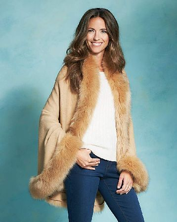 59ba02179dff Capsule Faux Fur Blanket Wrap Versatile and cosy, this camel blanket wrap  with faux fur