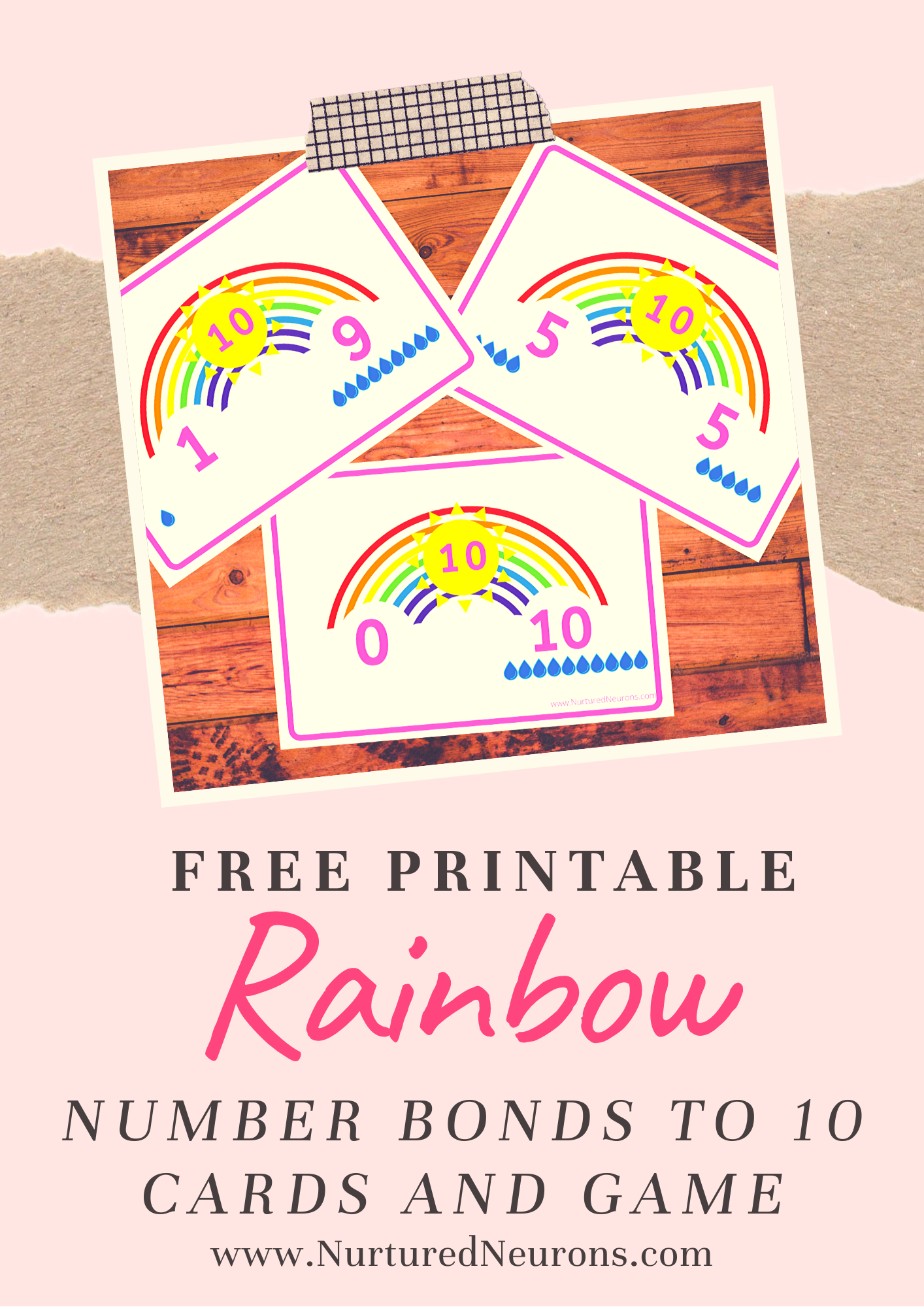 Rainbow Number Bonds To Ten Cards And Game In