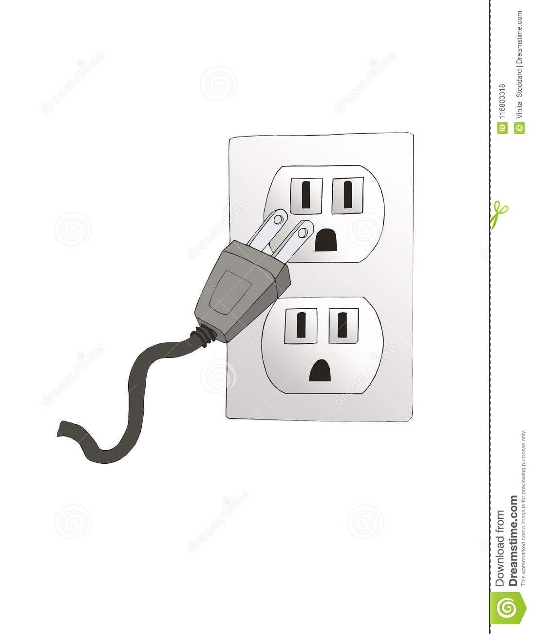 Electrical Outlet With Plug Ready To Plug In Stock Illustration