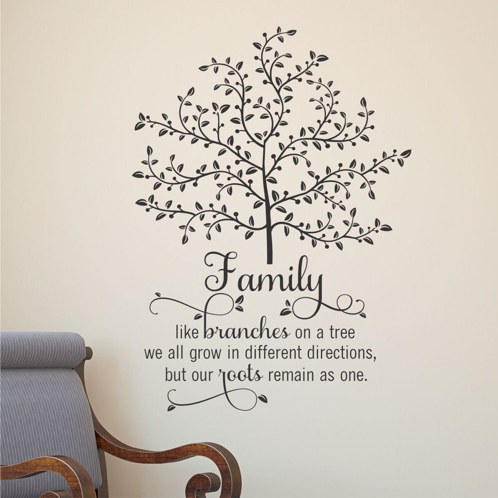Wall Quote Decal Family Tree With Roots Branches Home Wall Art Etsy Family Tree Quotes Family Wall Decals Quotes Family Tree Wall Decal
