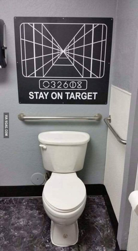 Stay on target | Geek | Star wars bathroom, Star wars humor ...