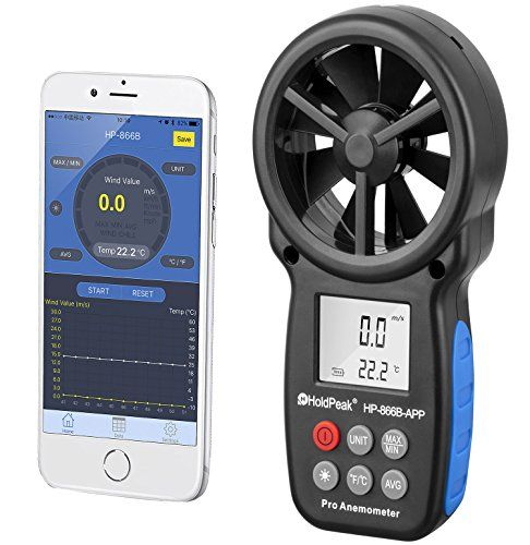 Wind Speed Gauges - Holdpeak 866BAPP Digital Anemometer with
