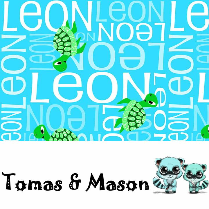 Turtle Minky Name Personalised Blanket Design. Choose your own, images, colours and name. Cot size $120 pp. Find us on FB, Tomas & Mason :)