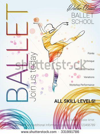 Ballet background Flyer, brochure, invitation, ticket, poster or - dance ticket template