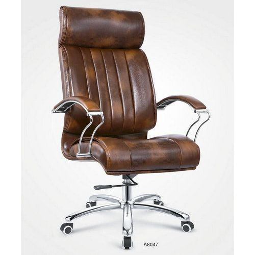 High Back Brown Pu Leather Elegant Visitor Office Chair
