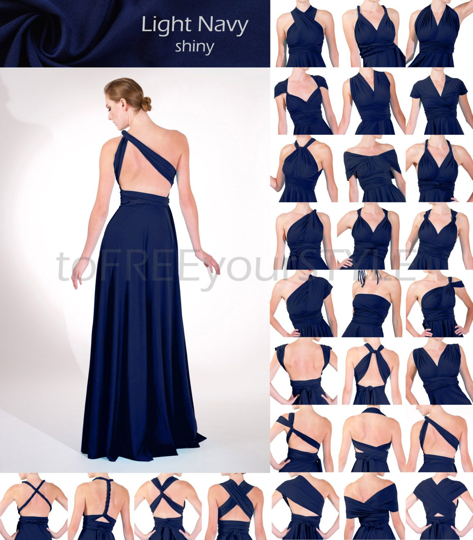 Long Infinity Dress In Light Navy Blue Shiny Full Free Style Wrap Bridesmaid Dresses