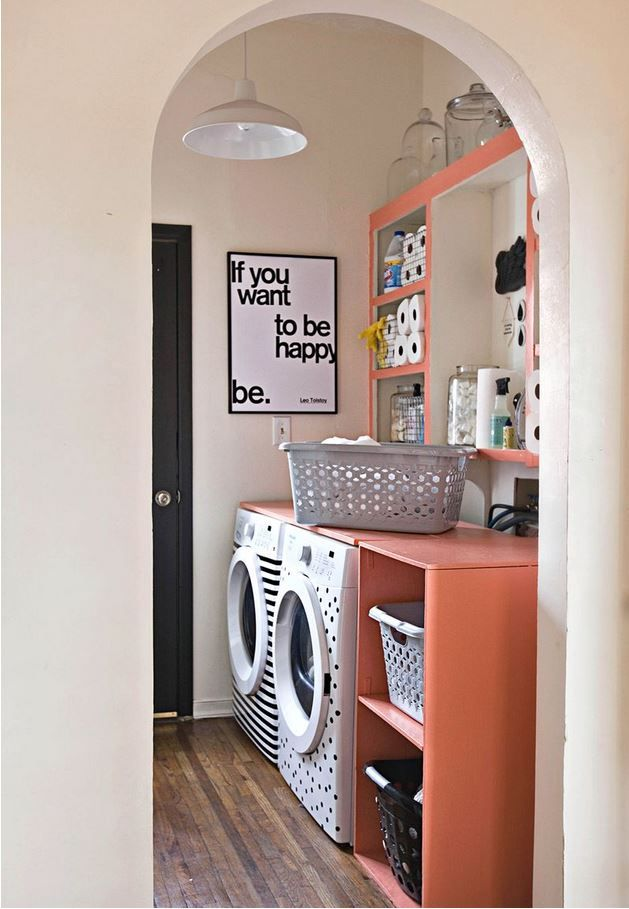 Laundry room storage - see entire blog post at  http://www.abeautifulmess.com/2013/12/elsies-laundry-room-tour.html