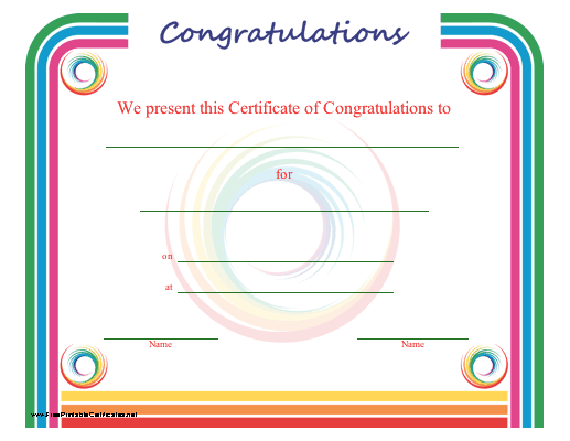a certificate of congratulation bordered in a rainbow of color free