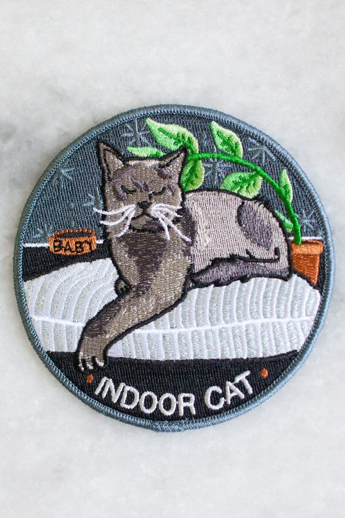 Indoor Cat Iron On Patch Patch Yourself Up Pinterest Patches