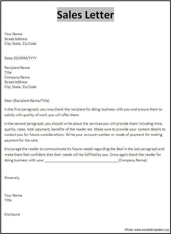 Sales Letter Template 1 j Pinterest Letter templates, Template