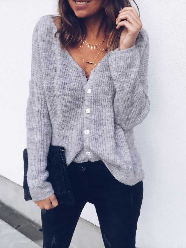 Women Casual V-neck Long Sleeve Pure Color Cardigans at Banggood. Chicnico  Two Way Button Up Sweatshirt. Solid Reversible Button Design Casual Sweaters 087507321