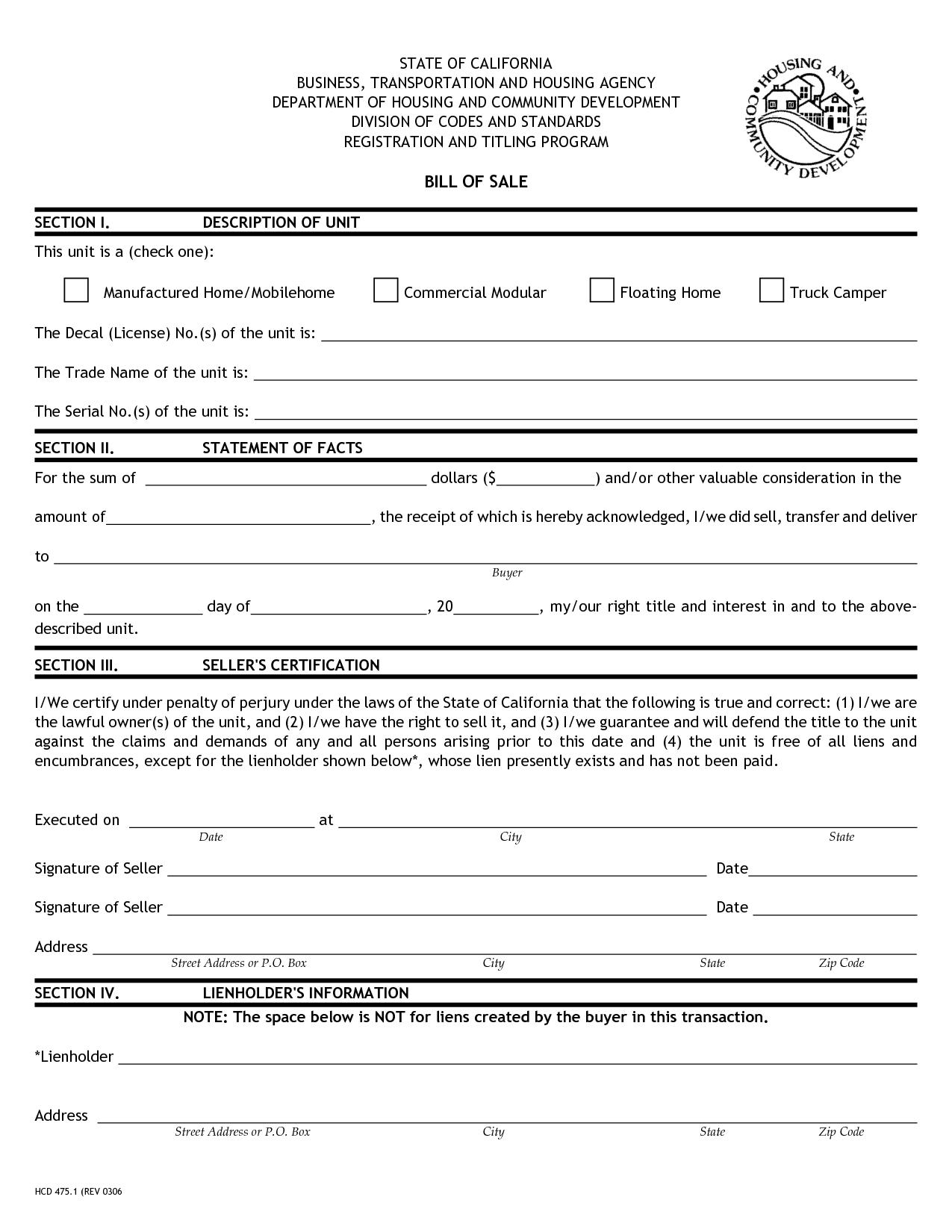 Printable Sample Printable Bill of sale for travel trailer Form ...