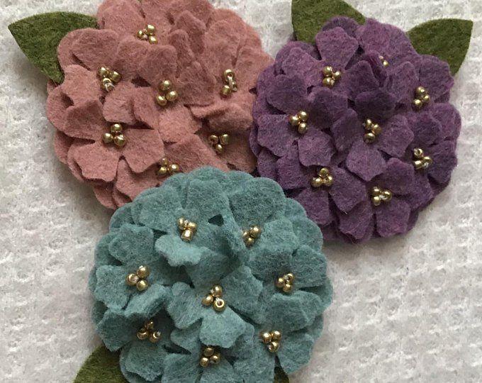 Spring Wool Felt Mini Hydrangeas #feltcreations