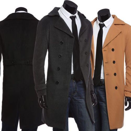 Mens Winter Wool Long Coat Double Breasted Trench Coat Jacket ...