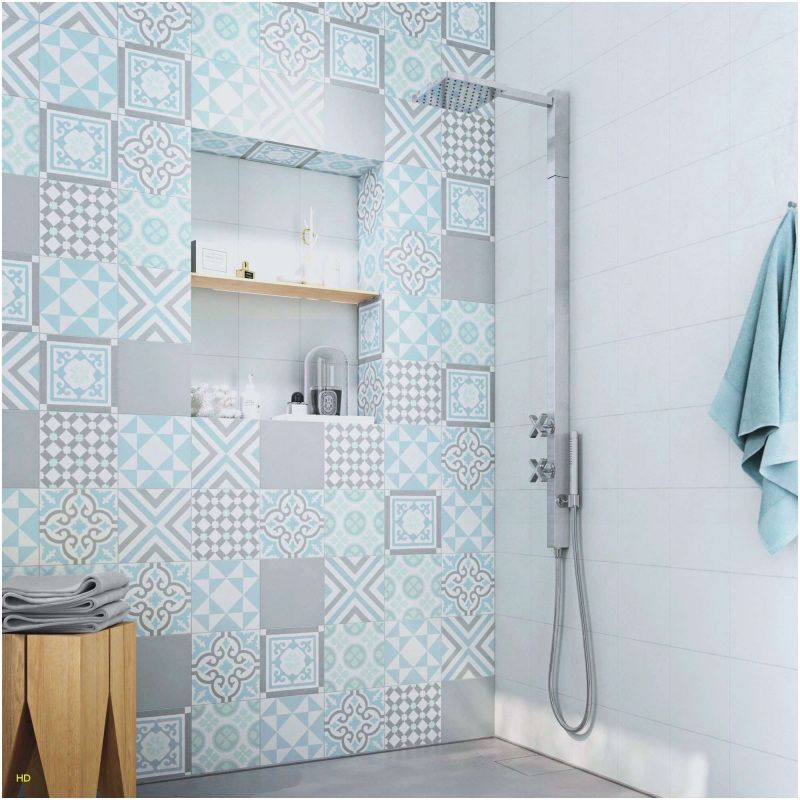 28 carrelage salle de bain bleu et gris
