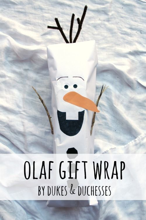 simple Olaf gift wrap
