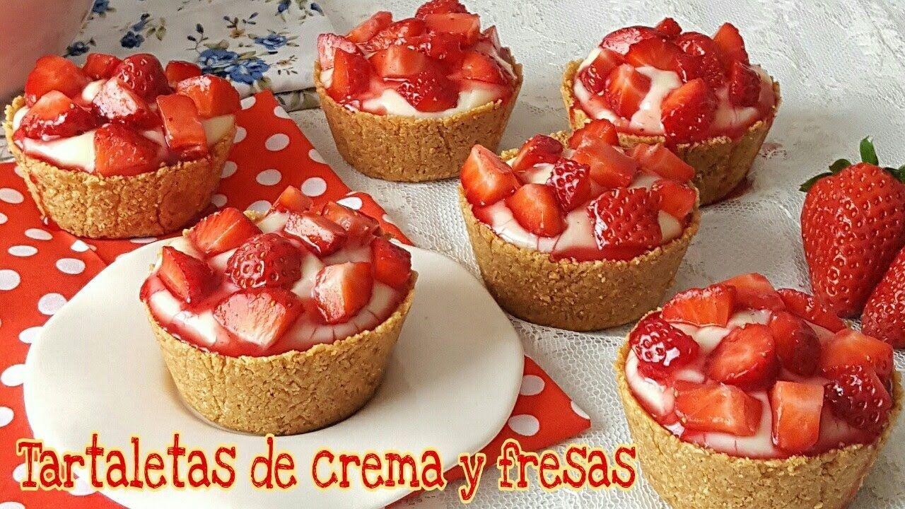 Tartaletas de crema pastelera y fresas - postre sin horno | Mi tarta pre...