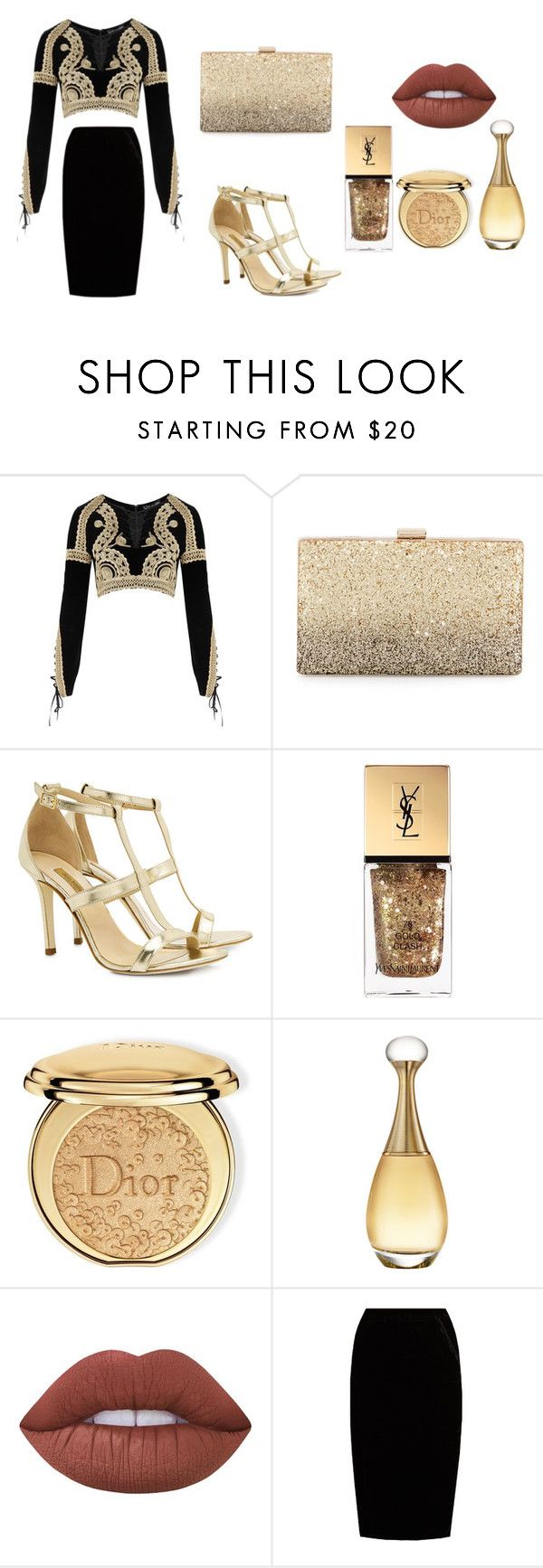 """Black & Gold"" by sinaifer on Polyvore featuring moda, For Love & Lemons, Neiman Marcus, Dee Keller, Yves Saint Laurent, Christian Dior, Lime Crime, Jupe By Jackie, gold y party"