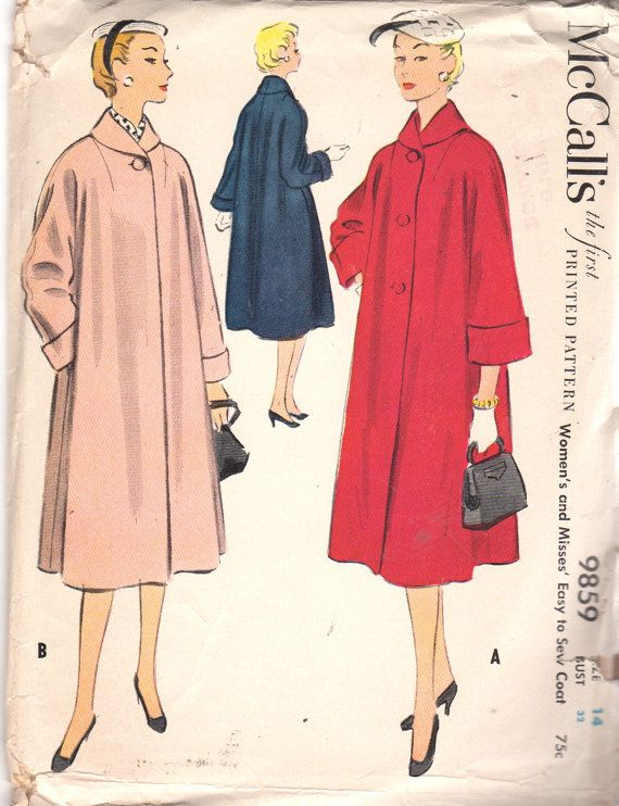McCalls 9859 1950s Misses Easy to Sew SWING COAT Pattern Shawl Collar  Kimono Sleeves Womens Vintage Sewing Pattern Size 14 Bust 32