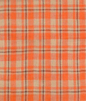 Orange & Brown Plaid Burlap Fabric