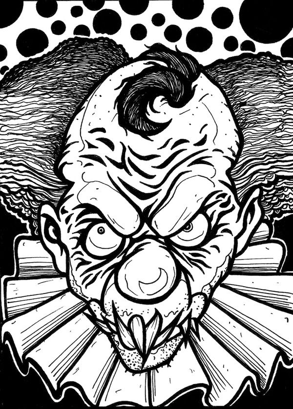 Scary Clown Coloring Page With Images Skull Coloring Pages