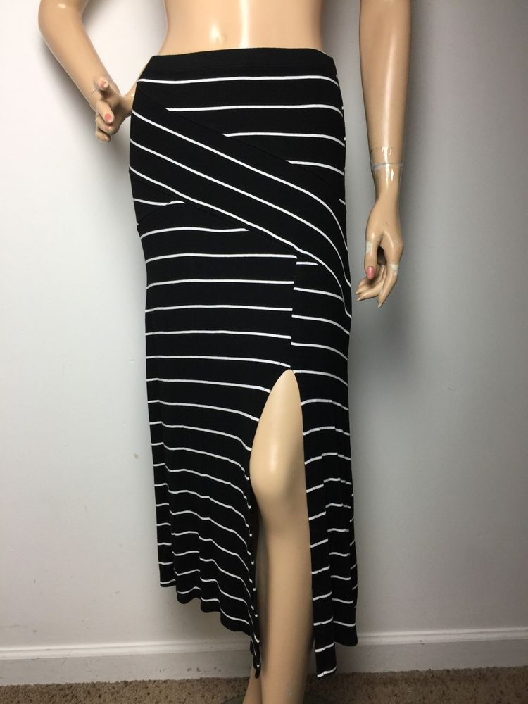 Cha Cha Vente Maxi Skirt Striped Black White Split Side Women's Size Medium  | eBay