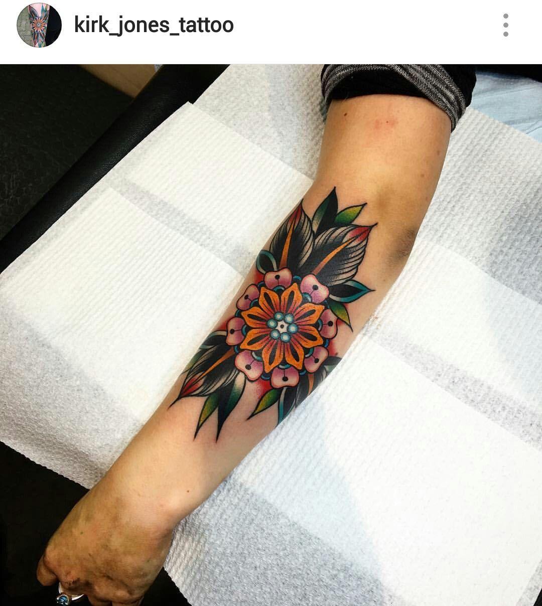 American Traditional Flower Tattoo By Kirk Jones Traditional Tattoo Flowers Body Tattoos Traditional Tattoo Sleeve