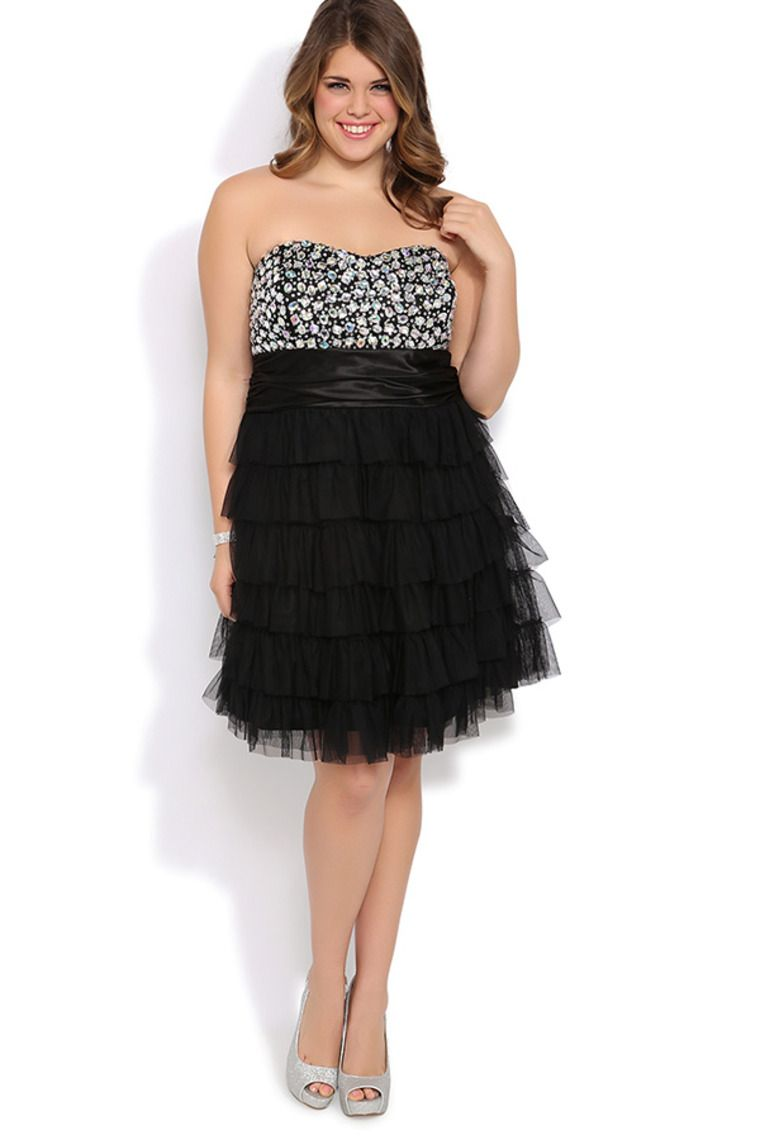 Plus size jeweled strapless short homecoming dress with cupcake